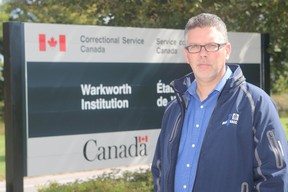 Jason Godin, of the Union of Canadian Correctional Officers, stands outside Warkworth Institution on Tuesday September 22, 2015 in Warkworth. (Pete Fisher/Northumberland Today)