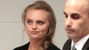 In this Aug. 24, 2015 file photo, Michelle Carter listens to defence attorney Joseph P. Cataldo argue for an involuntary manslaughter charge against her to be dismissed at Juvenile Court in New Bedford, Mass. (Peter Pereira/The New Bedford Standard Times via AP, Pool, File)