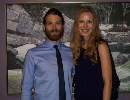 <p>Juan Riedinger (Peter Whyte) and Julie Lynn Mortensen (Catharine Robb Whyte) at the reception for the private screening in 2015.