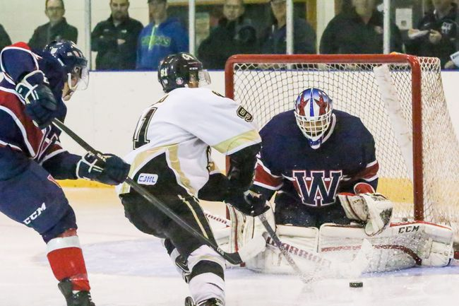 Wetaskiwin goaltender Devin Reagan made 21 saves as the Icemen went on to win their home opener against the Strathcona Bruins 8-2.
