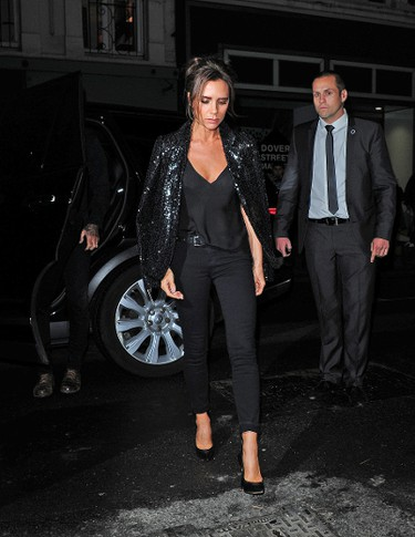 Victoria Beckham arrives at the anniversary party of her London store. (WENN.com)