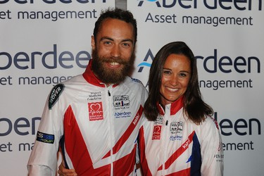 Pippa Middleton is seen with her brother, James Middleton, after finishing the Race Across America 2014 on June 20, 2014 in Annapolis, Maryland. (Larry French/Getty Images/AFP)