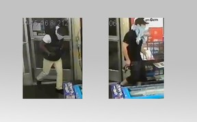 Toronto Police released these still images of two men wanted for a vicious convenience store robbery on Sept. 15, 2015. (Toronto Police photo)