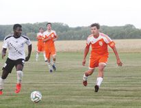 Carmania - seen here in action facing Winnipeg's United Nova in Carman in August - ended their regular schedule with three road wins. (FILE/CARMAN VALLEY LEADER)