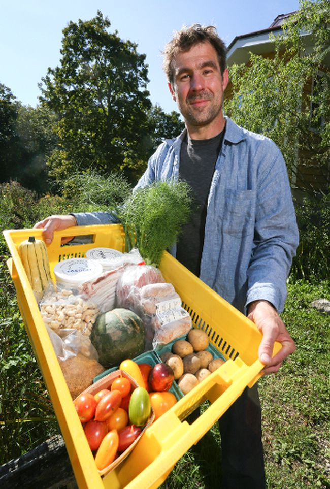 Thorsten Arnold, interim manager of the Eat Local Grey Bruce food distribution alliance with a selection of the products being offered up for customers at his farm near Park Head. The alliance is holding a test run to gauge demand for its food. (James Masters The Sun Times)