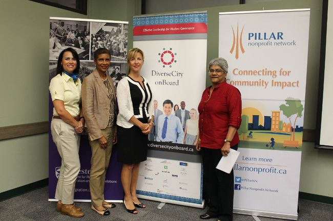 Maureen Cassidy, Deputy Mayor, Cathy Winter, Project Lead, DiverseCity onBoard, Global Diversity Exchange, Ryerson University, Michelle Baldwin, Executive Director, Pillar Nonprofit Network and Dharshi Lacey, Diversity Program Manager, Pillar Nonprofit Network.
