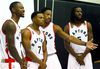(L-R) Terrence Ross, Kyle Lowry, DeMar DeRozan and DeMarre Carroll pose for pictures during Raptors Media Day as the Raptors start their preseason at the Air Canada Centre in Toronto, Ont. on Monday September 28, 2015. Dave Abel/Toronto Sun/Postmedia Network