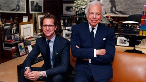 Designer Ralph Lauren, right, poses in his office with Stefan Larsson, global brand president for Old Navy, Tuesday, Sept. 29, 2015, in New York. Lauren is stepping down as CEO of the fashion and home decor empire that he founded nearly 50 years ago, and Larsson, who has been the global president of Old Navy for three years, will succeed him. (AP Photo/Jason DeCrow)