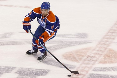 Edmonton forward Taylor Hall (4) is seen during the first period of an NHL game between the Edmonton Oilers and the Arizona Coyotes at Rexall Place in Edmonton, Alta. on Tuesday September 29, 2015. Ian Kucerak/Edmonton Sun/Postmedia Network