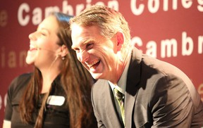 Cambrian College president Bill Best, shares a laugh during the unveiling of Cambrian College's strategic plan in Sudbury, Ont. on Tuesday September 29, 2015. Gino Donato/Sudbury Star/Postmedia Network