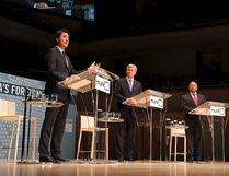 Liberal leader Justin Trudeau (L), Conservative leader and Prime Minister Stephen Harper, and New Democratic Party (NDP) leader Thomas Mulcair (R) take part in the Munk leaders' debate on Canada's foreign policy in Toronto, Canada September 28, 2015. Canadians go to the polls in a federal election on October 19, 2015. REUTERS/Fred Thornhill