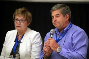 Mike and Dianne Ilesic talk about losing their son at the G4 robbery at Hub Mall at EPS Victim Services Conference for Families of Missing or Murdered Persons at Delta South Hotel on October 1, 2015 in Edmonton, Alta.  Perry Mah/Edmonton Sun