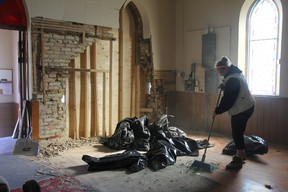 Repair work is underway at St. Paul Anglican Church in Kerwood after a Hummer crashed into one of the walls Wednesday norning.