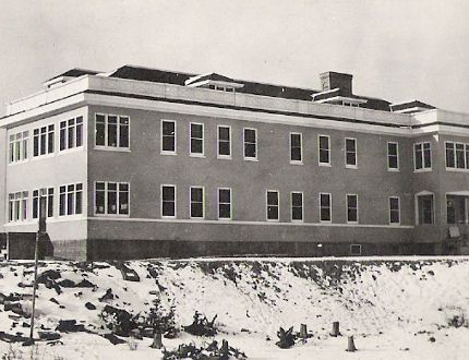 The Hollinger Mine got down to business and voted in 1915 to build a public hospital for the community. Here is a photo