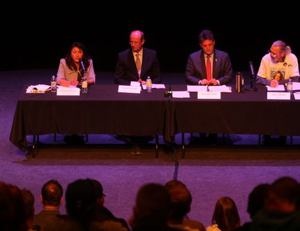 Candidates for the riding of Fort McMurray-Cold Lake sit at an all-candidates forum in Fort McMurray Alta. on Friday October 2, 2015. From Left: Melody Lepine, Roelof Janssen, Kyle Harrietha, Brian Deheer. Garrett Barry/Fort McMurray Today/Postmedia Network
