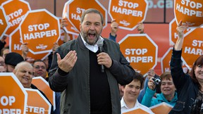 Federal NDP party leader Tom Mulcair speaks to supporters during his visit to Brantford-Brant riding NDP candidate Marc Laferriere's campaign office on Erie Avenue in Brantford, Ontario on Sunday October 4, 2015. Mulcair is making a swing through six ridings in southwestern Ontario where the party feels they can defeat the Conservative candidate. (Brian Thompson/Brantford Expositor/Postmedia Network)