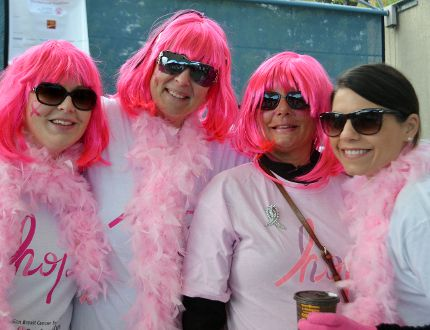 Team Rack Attack 'wigged out' ahead of the CIBC Breast Cancer Run for the Cure Sunday morning. From left: Christina Aquino-Soriano, Pam Armstrong, Christine Palaro, and Ang Notte
