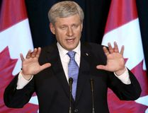 Prime Minister Stephen Harper speaks during a news conference on the Trans-Pacific Partnership (TPP) trade agreement in Ottawa on Oct. 5, 2015. (REUTERS/Chris Wattie)