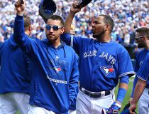 The Toronto Blue Jays salute the fans in the third inning during the final regular season MLB game against the Tampa Bay Rays at the Rogers Centre in Toronto, Ont. on Sunday September 27, 2015. Dave Abel/Toronto Sun/Postmedia Network