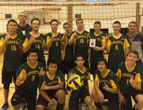 The senior boys' Melfort Comets volleyball team celebrate their victory at Winston Knoll in Regina on Saturday, October 2.