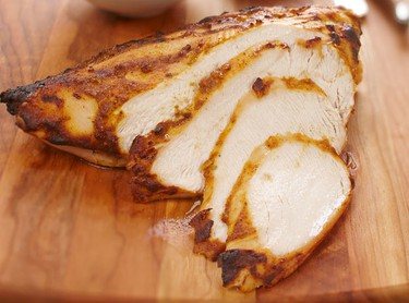 Tandoori-rubbed turkey breast with Napa slawCourtesy of Ontario TurkeyIngredients:  1/2 cup (125 mL) plain low fat yogurt 1 Tbsp. (15 mL) curry paste 2 cloves garlic, minced 1 Tbsp. (15 mL) fresh ginger root, peeled and grated 1/2 tsp. (2 mL) coarse salt and fresh cracked pepper 2 lbs. (1 kg) skinless, bone-in turkey breast Slaw: 1/2 napa cabbage, thinly sliced 2 carrots, peeled and grated 1 apple, coarsely grated 1 green onion, thinly sliced 1/4 cup (60 mL) plain yogurt 1 Tbsp. (15 mL) white wine vinegar 1 tsp. (5 mL) sugar 1/2 tsp. (2 mL) cumin seeds Pinch coarse salt and fresh cracked pepper 1/4 cup (50 mL) fresh cilantro, choppedDirections:  In bowl, stir together yogurt, curry paste, garlic, ginger, salt and fresh cracked pepper. Rub all over turkey and let marinate for at least one hour and up to one day. In separate bowl, combine cabbage, carrots, apple, green onion, yogurt, vinegar, sugar, cumin seeds, salt, pepper and cilantro. Roast turkey in a 400F (200C) oven to an internal temperature of 170F (77C). Let rest for 10 minutes before slicing and serving with slaw. Serves 4-6.