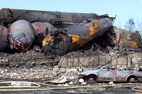 Wrecked oil tankers and debris from a runaway train in Lac-Megantic, Que. are pictured July 8, 2013. A Quebec judge has rejected Canadian Pacific Railway Ltd.'s challenge of a court settlement aimed at compensating residents of Lac-Megantic. THE CANADIAN PRESS/ho, SQ