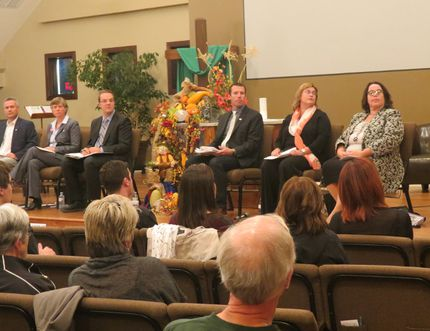 ROSS ARMOUR HIGH RIVER TIMES/ The Okotoks and District Chamber of Commerce hosted an all-candidates forum on Oct. 6 at t