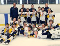 The Woodstock Jr. Navy Vets minor peewee team won the Bradford Blue and Gold tournament Sept. 25 to 27. The team scored 19 goals in the process, while only allowing five goals in five games. (Submitted photo)