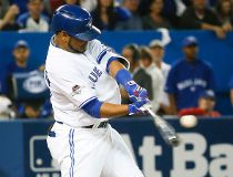 Edwin Encarnacion of the Toronto Blue Jays at bat against the Texas Rangers in Game 1 of the American League Division Series in Toronto, Ont. on Thursday October 8, 2015. STAN BEHAL/Toronto Sun/Postmedia Network