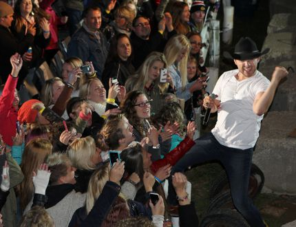 Canadian country music star Brett Kissel interacted with the audience during his grandstand show at the Norfolk County Fair on Saturday night (Oct. 10, 2015). KIM NOVAK Simcoe Reformer