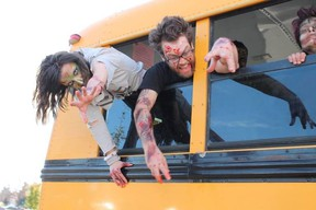 Zombies took to the streets Saturday promoting the Night of Fear Festival Oct. 30 and 31 at the Enjoy Centre in St Albert to support the Little Warriors. Photo Supplied