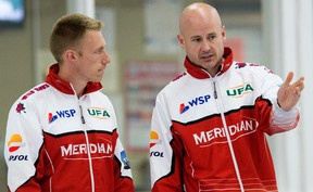 Third Marc Kennedy and skip Kevin Koe are undefeated in their last two World Curling Tour events )(David Bloom, Edmonton Sun).