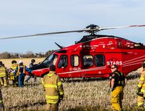 STARS Air Ambulance services were called in to help transport a woman injured in a vehicle rollover Oct. 9 just south of the city on Range Road 241.