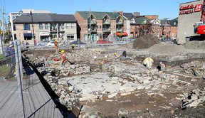 Archaeological crews continue their work at the corner of Queen and Wellington streets prior to construction of a new condominium on the site. Ian MacAlpine/The Whig-Standard/Postmedia Network