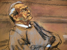 Vincent Asaro looks on as prosecutor Lindsay Gerdes (not pictured) makes opening statements in Asaro's trial in this court sketch from New York October 19, 2015. (REUTERS/Jane Rosenberg)