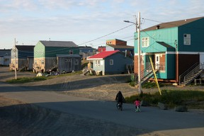 This picture taken on  September 16, 2015 shows a general view of a street of the Inuit village of Umiujaq, in Nunavik territory, Hudson Bay, Quebec.  (AFP PHOTO/CATHERINE HOURS)
