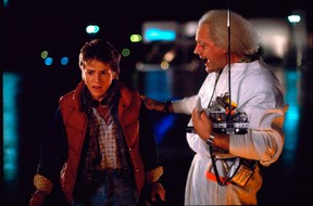 """Michael J. Fox, left, as Marty McFly, and Christopher Lloyd as Dr. Emmett Brown, appear in a scene from the 1985 film, """"Back to the Future"""" in this undated handout photo. (THE CANADIAN PRESS/AP-HO, Universal Pictures)"""