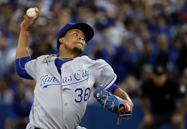 Edinson Volquez of the Kansas City Royals throws a pitch in the first inning against the Toronto Blue Jays during game 5 of the American League Championship Series at the Rogers Centre in Toronto, Ont. on Wednesday October 21, 2015. Craig Robertson/Toronto Sun/Postmedia Network