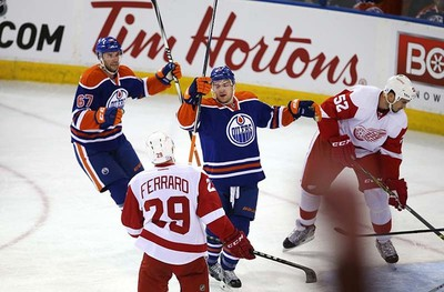 Edmonton Oilers' Mark Letestu (55) celebrates his goal on the  Detroit Red Wings during first period NHL action at Rexall Place in Edmonton, Alberta on October 21, 2015. Perry Mah/Edmonton Sun/Postmedia Network