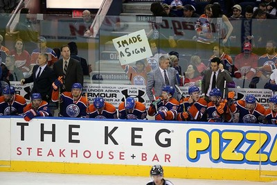 Edmonton Oilers bench during third period NHL action at Rexall Place in Edmonton, Alberta on October 21, 2015. Perry Mah/Edmonton Sun/Postmedia Network