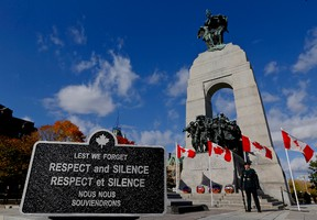 A ceremonial service was held at the National War Memorial in Ottawa on Thursday, Oct. 22, 2015 to commemorate the Parliament Hill attack and the lives of Corporal Nathan Cirillo and Warrant Officer Patrice Vincent.  Errol McGihon/Ottawa Sun/Postmedia Network