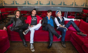 Emo-pop band Marianas Trench pose for a photo in downtown in Toronto on Thursday October 8, 2015. Members (from left) - Ian Casselman, Mike Ayley, Matt Webb and Josh Ramsay. (Ernest Doroszuk/Postmedia Network)