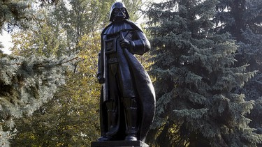 """A monument to the character of Darth Vader from """"Star Wars,"""" which was rebuilt from a statue of Soviet state founder Vladimir Lenin, is seen in Odessa, Ukraine, Oct. 23, 2015. REUTERS/Yevgeny Volokin"""