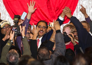 Edmonton - Mill Woods Federal Liberal candidate Amarjeet Sohi arrives to give his victory speech during the at the Maharaja Banquet Hall, 9257 - 34A Ave., in Edmonton Alta. on Monday Oct. 18, 2015. Sohi was declared the winner late Monday night beating Conservative Tim Uppal by just 79 votes. Queen�s Bench Justice Brian Burrows has ordered a judicial recount to start Tuesday Oct. 27th at the office of the returning officer in Mill Woods. David Bloom/Edmonton Sun/Postmedia Network
