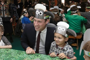 Britain's Duke of Cambridge, left, poses for photographs with a Shaun the Sheep hat, with children and representatives from charities and Aardman Animations, during a meeting of the Charities Forum at BAFTA on Piccadilly in London, Monday Oct. 26, 2015. The Charities Forum is a collection of charities, of which The Duke and Duchess of Cambridge and Prince Harry are patrons. (AP Photo/Tim Ireland, Pool)