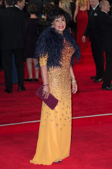 """Shirley Bassey attends the world premiere of the new James Bond 007 film """"Spectre"""" at the Royal Albert Hall in London, Britain, October 26, 2015. (Mario Mitsis/WENN.com)"""