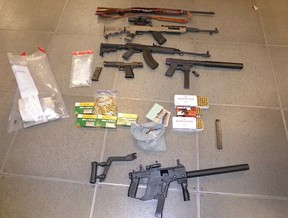 Weapons seized in Entertainment District raid Sunday, Oct. 25, 2015. (Toronto Police)