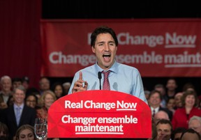 Liberal Leader Justin Trudeau speaks at a victory rally in Ottawa on October 20, 2015 after winning the election. (AFP PHOTO/ NICHOLAS KAMM)