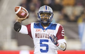 Montreal Alouettes quarterback Kevin Glenn throws a pass against the Toronto Argonauts during the first half of their CFL football game in Hamilton on Oct. 23, 2015. (REUTERS/Mark Blinch)