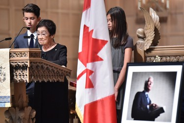 Pat Taylor, Ken Taylor's widow, speaks at the funeral of the former diplomat in Toronto on Tuesday, Oct. 27, 2015. Taylor was Canada's ambassador to Iran in 1979 when he helped six Americans escape the country during the hostage crisis.THE CANADIAN PRESS/Nathan Denette